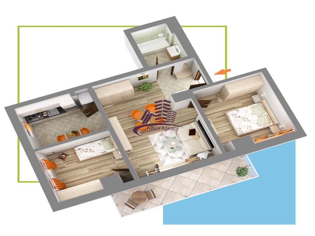 Nicolina, bloc nou, apartament 3 camere decomandat